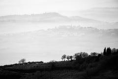 Una vista di alcuni alberi nella priorità alta con gli strati delle colline e Immagini Stock Libere da Diritti