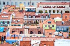 Una vista di Baixa de Lisbona da Castelo de São Jorge fotografia stock