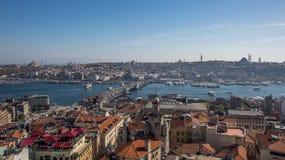 Una vista di Costantinopoli dalla torre di galata Fotografie Stock Libere da Diritti