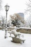 Una vista di inverno della statua famosa dello scrittore croato Antun Fotografie Stock