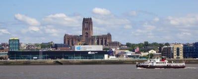 Una vista di Liverpool e del fiume della Mersey Immagine Stock Libera da Diritti