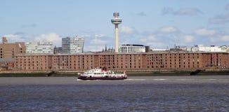 Una vista di Liverpool e del fiume della Mersey Fotografie Stock