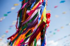 Una vista di tradicional del junina di festa di festival di junina fotografia stock libera da diritti