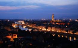 Una vista di tramonto del centro storico di Firenze immagini stock libere da diritti