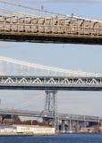 Una vista di tre ponti su New York Fotografie Stock Libere da Diritti