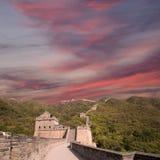 Una vista di una delle sezioni più sceniche della grande muraglia della Cina, a nord di Pechino Fotografie Stock Libere da Diritti