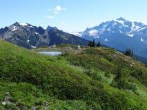 Una vista di uno stagno della montagna e delle cascate del nord Immagini Stock Libere da Diritti