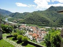 Una vista di Varallo fotografia stock
