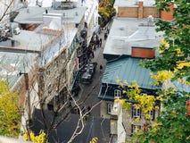 Una vista di una via in Quebec Fotografie Stock
