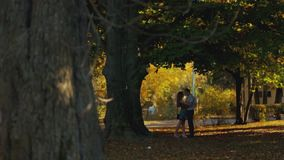 Una vista distante de los pares jovenes que abrazan y que se besan en un ciudad-parque del otoño Metas de los pares romántico metrajes