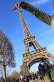 Una vista divertida de la torre Eiffel Fotografía de archivo