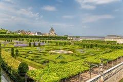 Una vista escénica de los jardines del castillo de Villandry, Francia Fotos de archivo