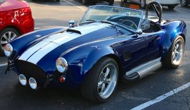Una vista frontale di Ford Shelby Cobra 1969 Fotografia Stock
