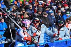 Una vista general de la meta durante el eslalom gigante de Audi FIS el Ski World Cup Women alpino fotos de archivo