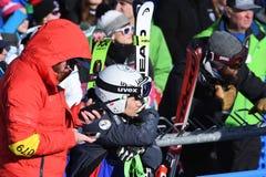 Una vista general de la meta durante el eslalom gigante de Audi FIS el Ski World Cup Women alpino fotografía de archivo libre de regalías