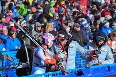 Una vista general de la meta durante el eslalom gigante de Audi FIS el Ski World Cup Women alpino foto de archivo