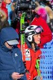Una vista general de la meta durante el eslalom gigante de Audi FIS el Ski World Cup Women alpino imagen de archivo