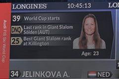 Una vista general a las pantallas del gigante TV durante el eslalom gigante de Audi FIS el Ski World Cup Women alpino fotos de archivo libres de regalías