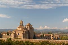 Una vista a la abadía medieval de Poblet Foto de archivo