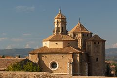 Una vista a la abadía medieval de Poblet Fotos de archivo