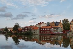 Una vista a la vieja parte de Eskilstuna Imágenes de archivo libres de regalías