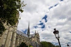 Una vista lateral de Notre Dame de Paris rodeada por los árboles y stree Fotografía de archivo