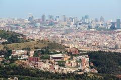 Una vista panoramica di Barcellona da Tibidabo Immagini Stock