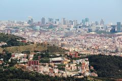 Una vista panoramica di Barcellona da Tibidabo Immagine Stock