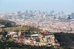 Una vista panoramica di Barcellona da Tibidabo Immagine Stock Libera da Diritti