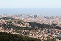 Una vista panoramica di Barcellona da Tibidabo Fotografia Stock