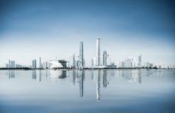 Una vista panoramica di nuova città di Guangzhou il fiume delle Perle Fotografie Stock Libere da Diritti