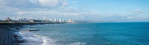 Una vista panoramica svago del ` s della spiaggia e di John Codona di Aberdeen concentra fotografia stock libera da diritti