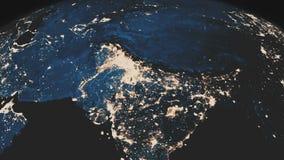 Una vista realista hermosa de la tierra del planeta vista de espacio exterior Rotación de la tierra Ciudades chispeantes de la no stock de ilustración