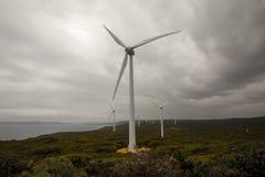 Una vista scenica del parco eolico di Albany in un tempo nuvoloso Immagine Stock Libera da Diritti