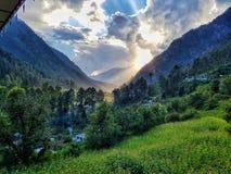 Una vista scenica delle montagne di Kasol Immagine Stock Libera da Diritti