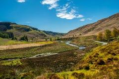 Una vista scenica di River Valley nelle montagne immagini stock libere da diritti