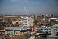 Una vista sopra Glasgow City Centre da 17 pavimenti sopra la via di Bothwell che sembra del nord fotografia stock