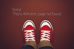 Una vista superiore dell'errore 404, impagina non trovato Fotografia Stock