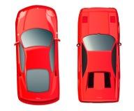 Una vista superiore di due automobili rosse Carrozza ferroviaria rossa Fotografia Stock Libera da Diritti