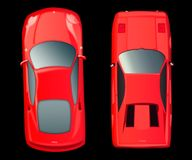 Una vista superiore di due automobili rosse su fondo nero Carrozza ferroviaria rossa Fotografie Stock Libere da Diritti