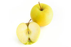 Una vista superiore di due mele gialle Fotografie Stock