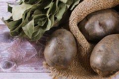 Una vista superiore di tre patate, che si trovano in una borsa dietro loro un mazzo delle foglie della baia, foglie fragranti Ing fotografie stock
