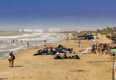 Una vista típica de la playa del boquilla del la cerca de Cartagena Colombia fotos de archivo