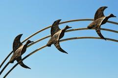 Una volata delle tre oche Fotografie Stock