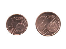 Una y dos monedas del centavo euro EUR, UE de la unión europea aislada Imagenes de archivo