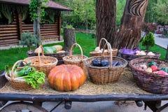 Una zucca arancio festiva per Halloween dalla raccolta dei raccolti freschi dal giardino si trova nel fieno fra il baske tessuto Fotografia Stock Libera da Diritti