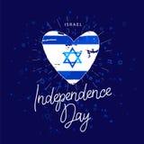 Unabhängigkeit Day Israel Flag in Form des Herzens lizenzfreie abbildung