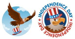 Unabhängigkeit Day Weißkopfseeadler im patriotischen Hut Lizenzfreie Stockfotos