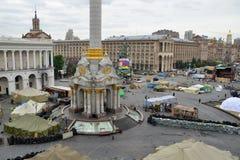 Unabhängigkeit quadratisches (Maidan Nezalezhnosti) afer die Revolution, Kiew, Ukraine Lizenzfreies Stockbild