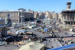 Unabh?ngigkeits-Quadrat Maidan Nezalezhnosti w?hrend der Zeiten von Euromaidan - eine Welle von Demonstrationen und von sozialen  stockfotos